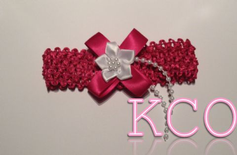 Cerise/White~ Girls Headbands